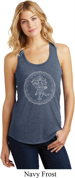 Image of Ladies Yoga Circle Ganesha White Print Racerback Tank Top