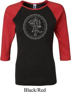 Image of Ladies Yoga Circle Ganesha White Print Raglan Shirt