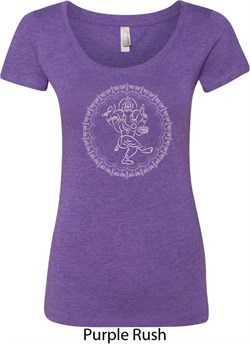 Image of Ladies Yoga Circle Ganesha White Print Scoop Neck