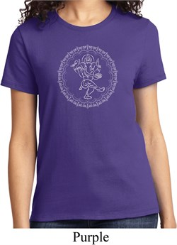 Image of Ladies Yoga Circle Ganesha White Print Shirt