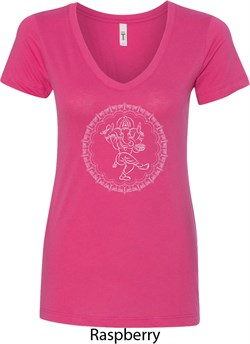 Image of Ladies Yoga Circle Ganesha White Print V-neck Shirt
