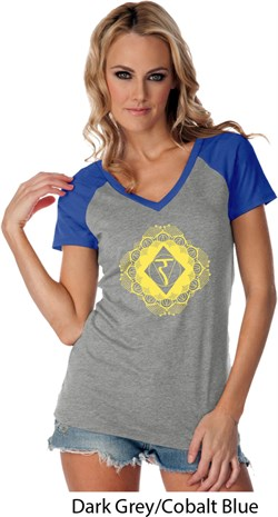 Image of Ladies Yoga Diamond Manipura Contrast V-neck Shirt