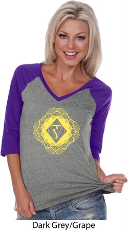 Image of Ladies Yoga Diamond Manipura V-neck Raglan Shirt