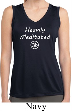 Image of Ladies Yoga Heavily Meditated with OM Dry Wicking Sleeveless Shirt