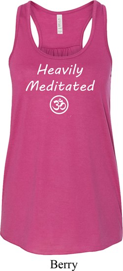 Image of Ladies Yoga Heavily Meditated with OM Flowy Racerback