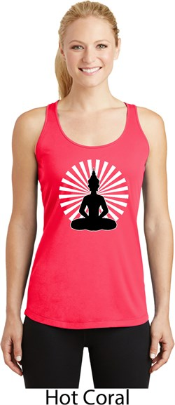 Image of Ladies Yoga Meditating Buddha Dry Wicking Racerback