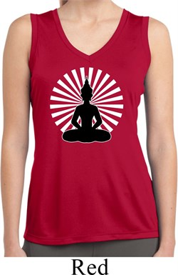 Image of Ladies Yoga Meditating Buddha Dry Wicking Sleeveless Shirt
