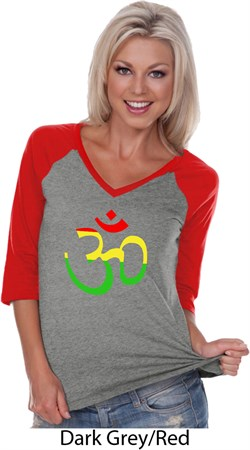 Image of Ladies Yoga Rasta Aum 3/4 Sleeve V-neck Raglan