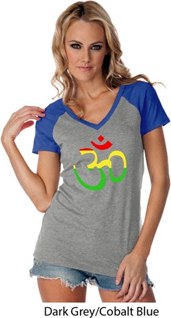 Image of Ladies Yoga Rasta Aum Contrast V-neck