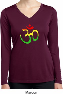 Image of Ladies Yoga Rasta Aum Dry Wicking Long Sleeve V-neck