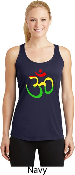 Image of Ladies Yoga Rasta Aum Dry Wicking Racerback