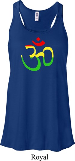 Image of Ladies Yoga Rasta Aum Flowy Racerback