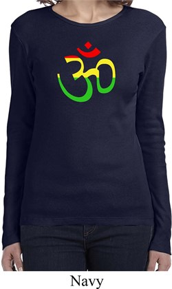 Image of Ladies Yoga Rasta Aum Long Sleeve Shirt