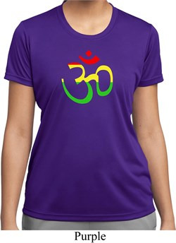 Image of Ladies Yoga Rasta Aum Moisture Wicking T-shirt