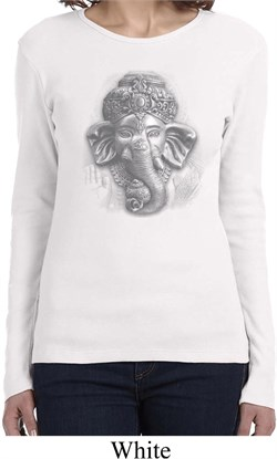 Image of Ladies Yoga Shirt 3D Ganesha Lights Long Sleeve Tee