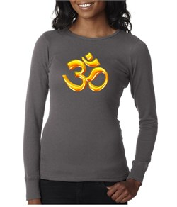 Image of Ladies Yoga Shirt 3D OM Long Sleeve Thermal Tee T-Shirt