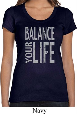 Image of Ladies Yoga Shirt Balance Your Life Scoop Neck Tee T-Shirt