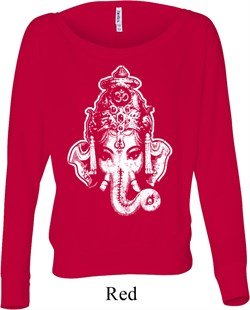 Image of Ladies Yoga Shirt BIG Ganesha Head Off Shoulder Tee T-Shirt