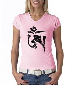 Image of Ladies Yoga Shirt Black Tibetan Om V-neck Tee T-shirt