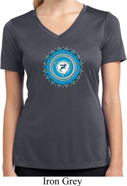 Image of Ladies Yoga Shirt Blue Vishuddha Moisture Wicking V-neck Tee T-Shirt