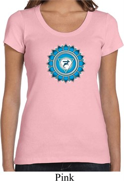Image of Ladies Yoga Shirt Blue Vishuddha Scoop Neck Tee T-Shirt