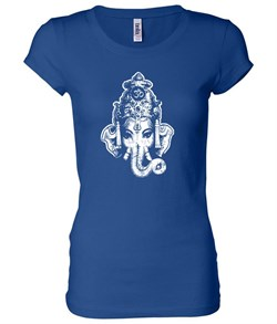 Ladies Yoga Shirt Ganesha Head Longer Length Tee T-Shirt