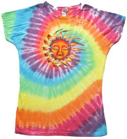 Image of Sleeping Sun Juniors Yoga Shirt - Tye Dye Pastel Colors