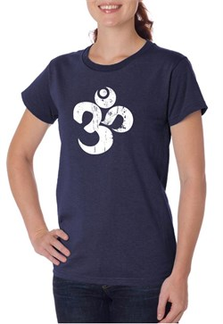 Image of Ladies Yoga Shirt White Distressed OM Organic Tee T-Shirt