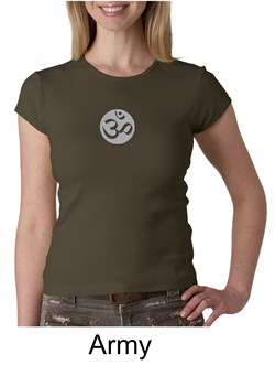 Image of Ladies Yoga T-shirt ? Om Symbol Small Print Crew Neck Shirt