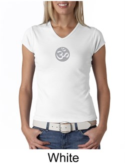 Image of Ladies Yoga T-shirt ? Om Symbol Small Print V-neck Shirt