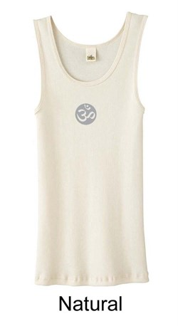 Image of Ladies Yoga Tank ? Om Symbol Small Print Organic Tanktop