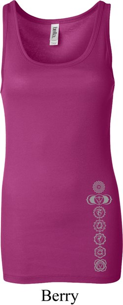 Image of Ladies Yoga Tanktop 7 Chakras Bottom Print Longer Length Tank Top