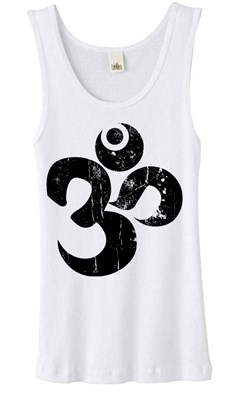Image of Ladies Yoga Tanktop Black Distressed OM White Organic Tank Top