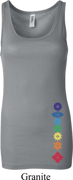Image of Ladies Yoga Tanktop Floral Chakras Bottom Print Longer Length Tank Top
