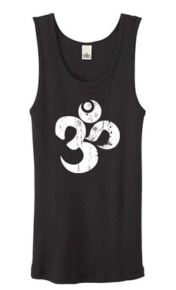 Image of Ladies Yoga Tanktop White Distressed OM Black Organic Tank Top
