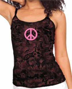 Image of Ladies Peace Sign Shirt - Pink Peace Tie Dye Camisole