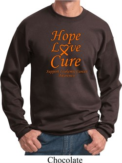 Image of Leukemia Cancer Awareness Hope Love Cure Sweatshirt