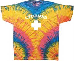 Image of Lifeguard T-shirt - Adult Tie Dye Woodstock