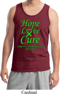 Image of Lymphoma Cancer Awareness Hope Love Cure Tank Top