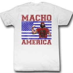 Macho Man Shirt Macho America Adult White Tee T-Shirt