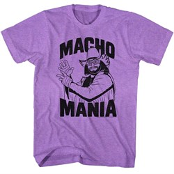 Macho Man Shirt Macho Mania Heather Purple Tee T-Shirt
