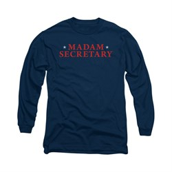 Image of Madam Secretary Shirt Logo Long Sleeve Navy Tee T-Shirt