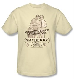 Image of Andy Griffith Show T-shirt - MAYBERRY JAIL Adult Cream Tee