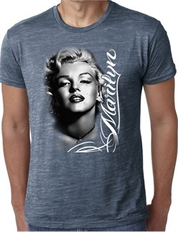 Marilyn Monroe Shirt Black and White Portrait Mens Burnout Tee T-Shirt