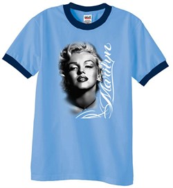 Image of Marilyn Monroe Shirts Black and White Portrait Mens Ringer Tee T-Shirt