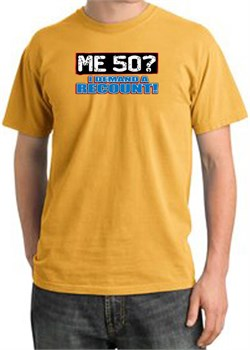 Image of 50th Birthday Pigment Dyed T-Shirt - Me 50 Years Mustard Shirt