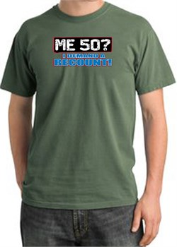 Image of 50th Birthday Pigment Dyed T-Shirt - Me 50 Years Olive Shirt