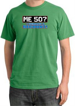 Image of 50th Birthday Pigment Dyed T-Shirt - Me 50 Years Piper Green Shirt