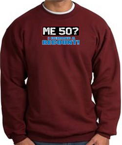 Image of 50th Birthday Sweatshirt - Funny Me 50 Years Maroon Sweat Shirt