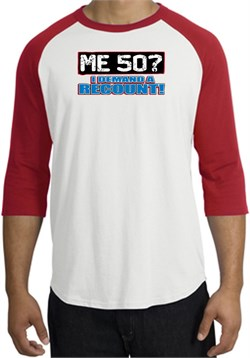 Image of 50th Birthday Raglan Shirt - Funny Me 50 Years White/Red Tee Shirt